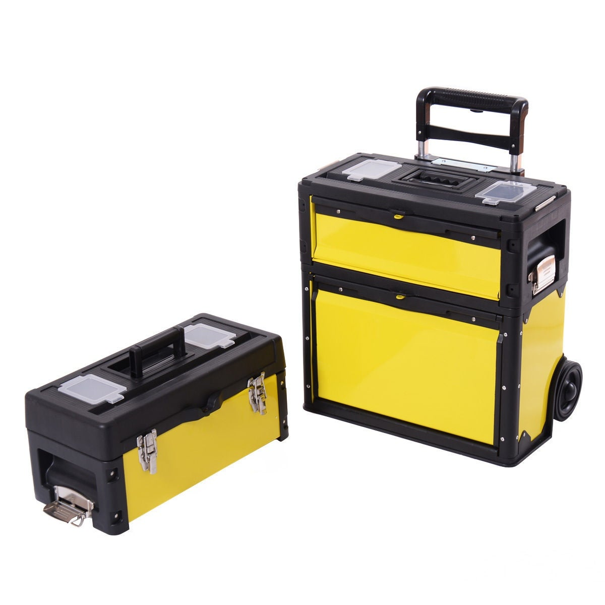 Shop Costway Rolling Stacking Portable Metal Trolley Toolbox Chest Tools  Organizer Cabinet   Free Shipping Today   Overstock.com   16391666