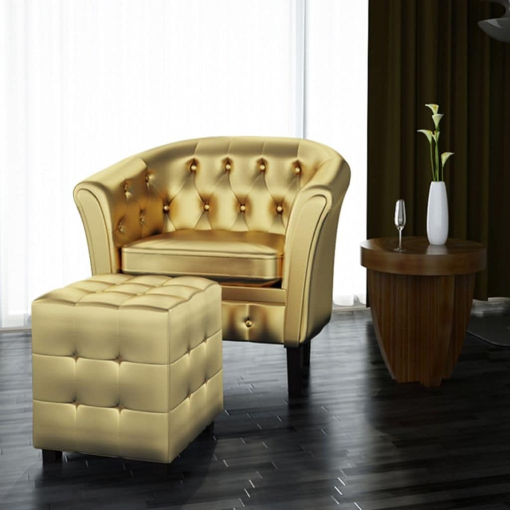 Shop VidaXL Artificial Leather Tub Chair Armchair With Footrest Gold   Free  Shipping Today   Overstock.com   19451433