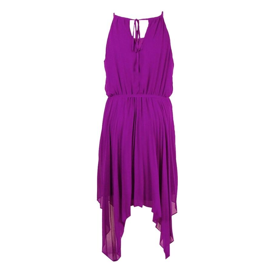City Chic Women\'s Plus Size Pleated Handkerchief-Hem Dress (S ...