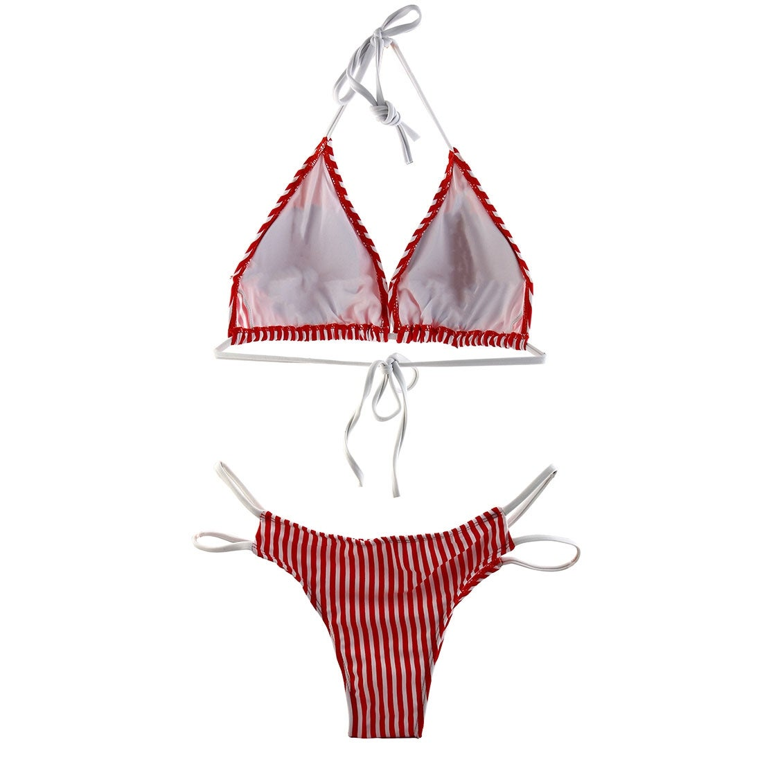 28141d45d9 Stripe Print Padding Bra Swimwear Bathing Suit Women Swimsuit Bikini Set  Red S