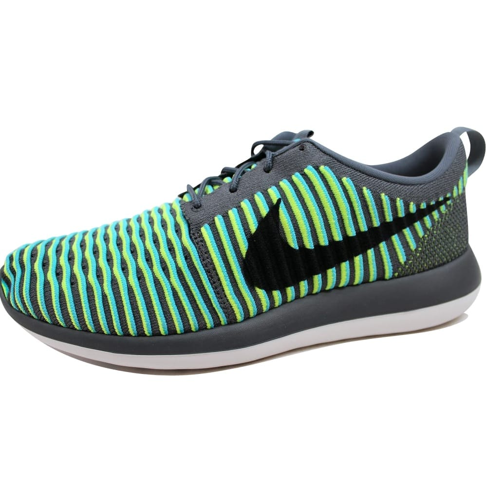 factory authentic ac882 5aaad Nike Roshe Two Flyknit Dark Grey Black-Gamma Blue-Volt 844833-004 Men s