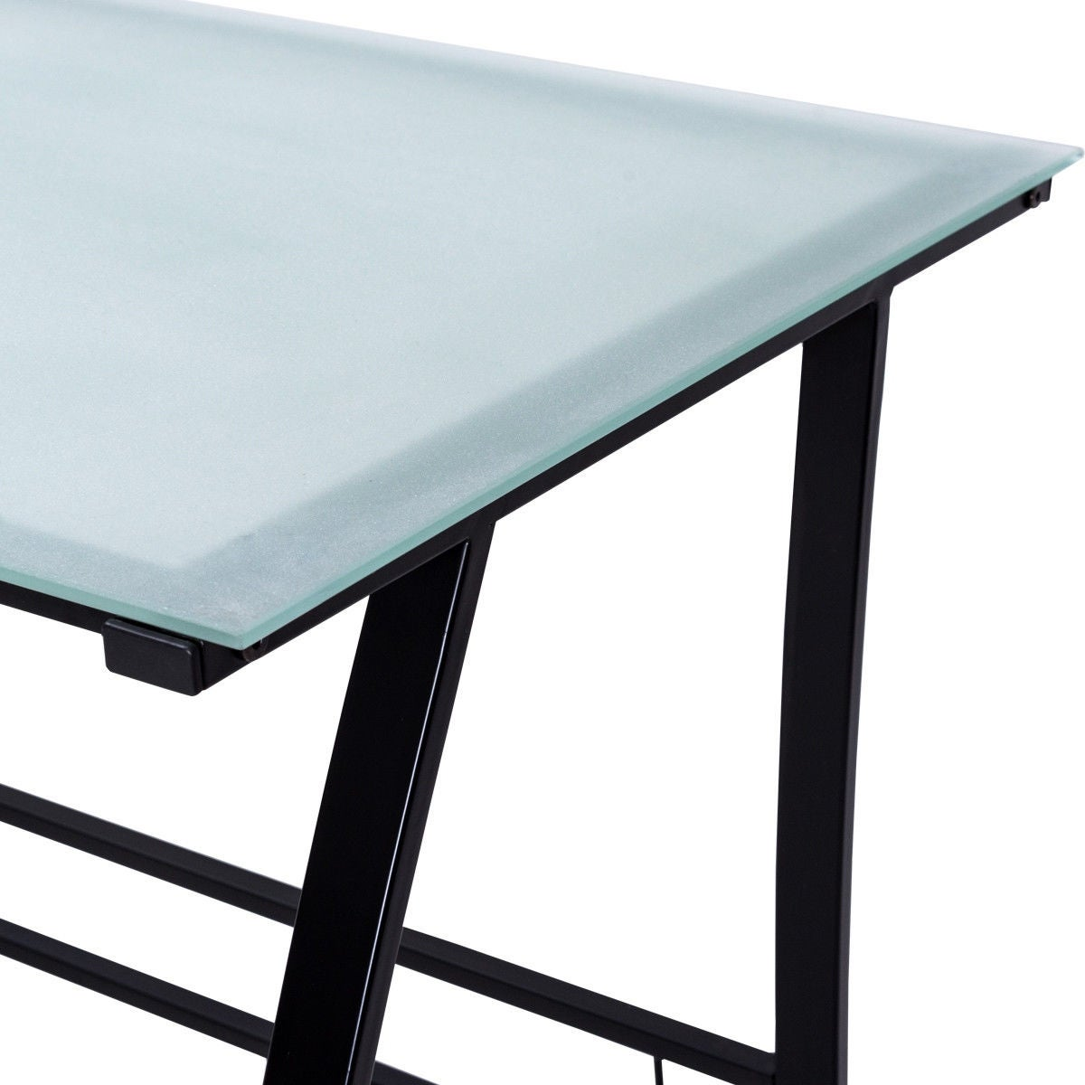 Shop Gymax Computer Desk PC Laptop Table Glass Top Writing Study  Workstation With Shelves   As Pic   Free Shipping Today   Overstock.com    20682530