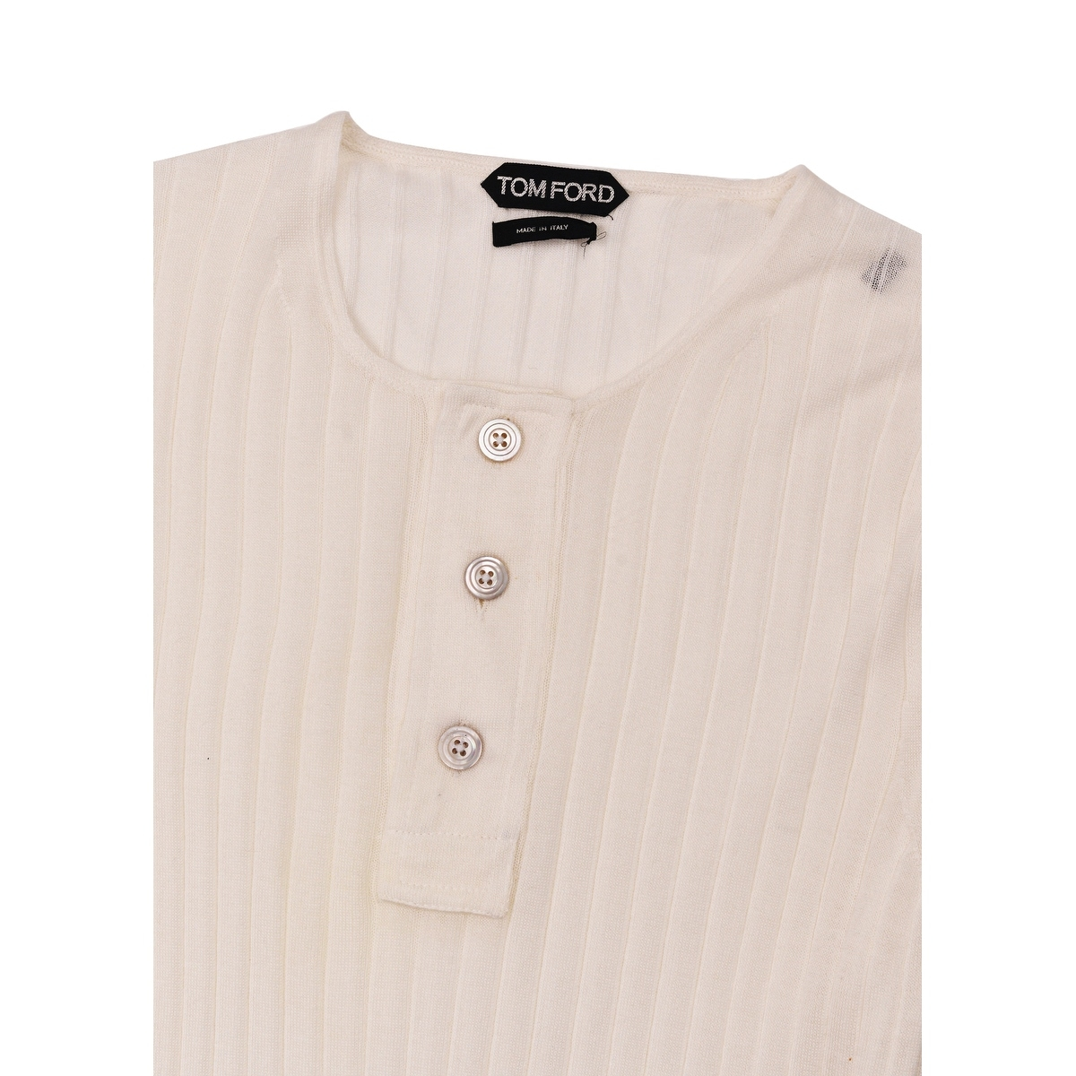 b68d7c3d Shop Tom Ford Mens Ivory Cashmere Silk Henley Ribbed Button Sweater - M -  Free Shipping Today - Overstock - 26438375