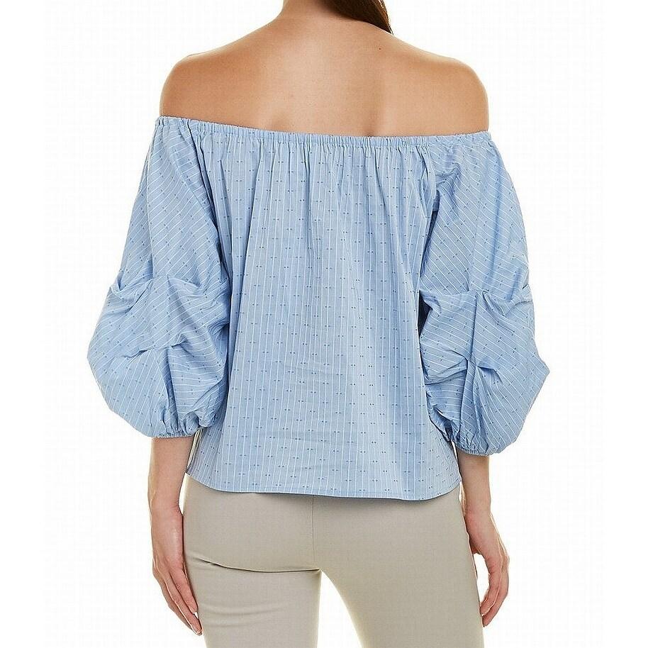 02cfc3bf8e4 Shop CeCe Blue Women Medium M Striped Off-Shoulder Bubble Sleeve Blouse -  On Sale - Free Shipping On Orders Over $45 - Overstock - 26914093