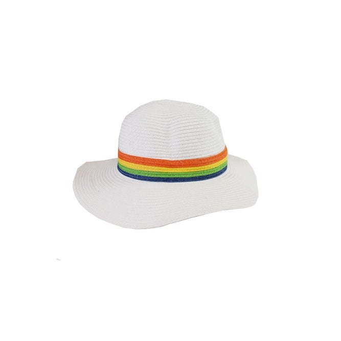 ddc7d1af Shop August Hat White Multi Stripe Band Floppy Hat OS - Free Shipping On  Orders Over $45 - Overstock - 24163083