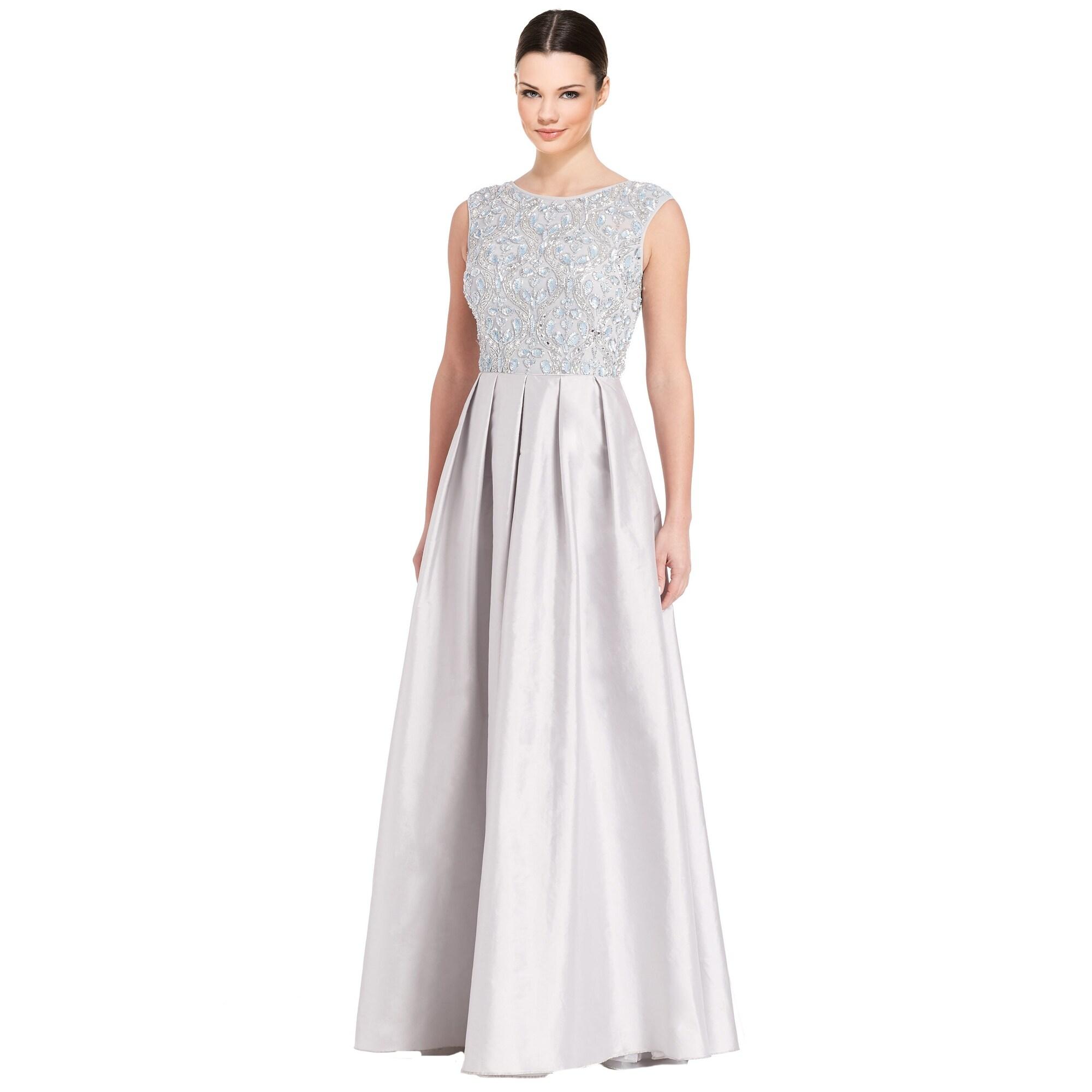 Aidan Mattox Metallic Embellished Pleated Evening Gown Dress - Free ...