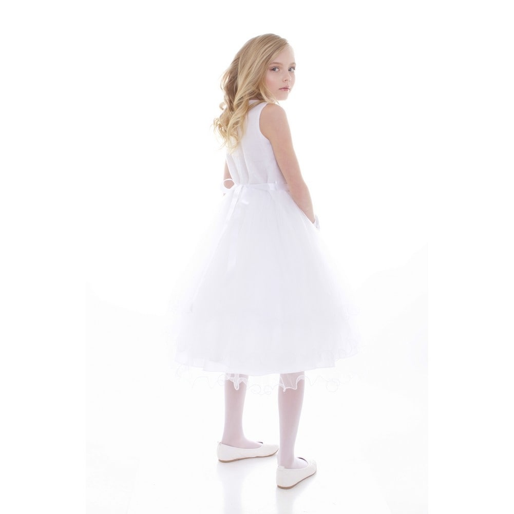 Big Girls White Satin Sequin Tulle Junior Bridesmaid Dress - Free ...