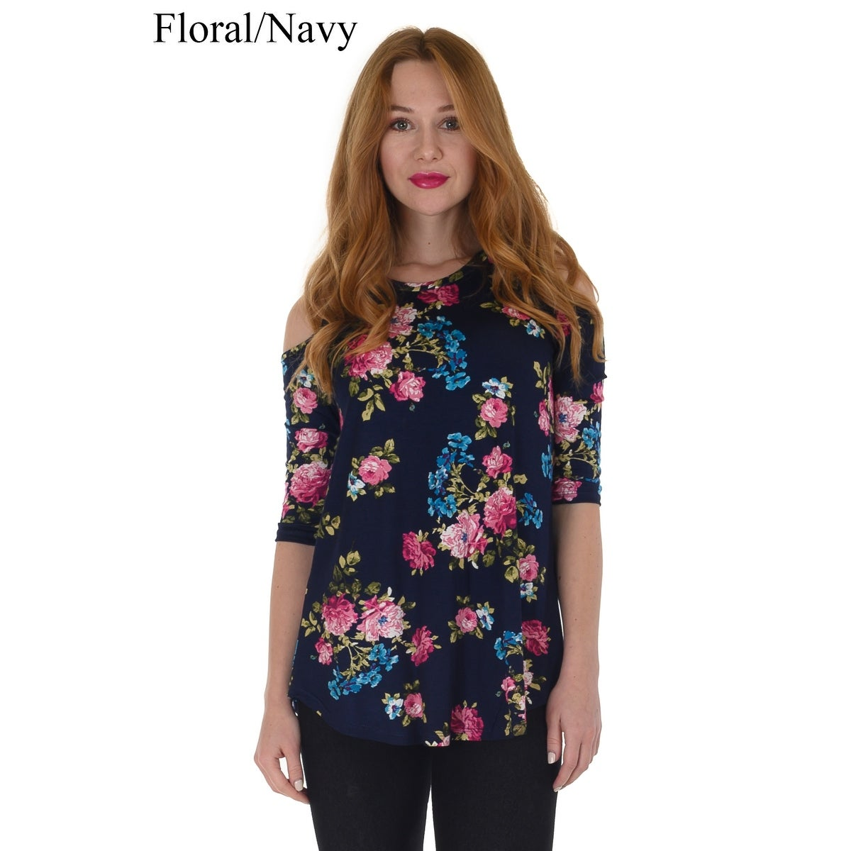 4cd1f41aba Shop Simply Ravishing Women s Cold Shoulder Flare 3 4 Sleeve Blouse Top  Tunic Shirt (Size  S-5X) - On Sale - Free Shipping On Orders Over  45 -  Overstock - ...