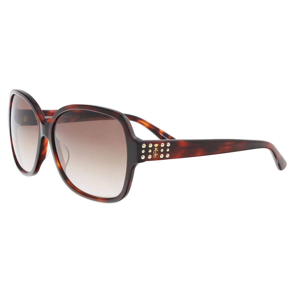 2c3a821e6c Juicy Couture JU 592 S 0086 HA Dark Havana Square Sunglasses - 57-14-135 - Free  Shipping Today - Overstock.com - 26932912