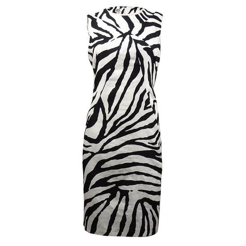 156b8433f1d Shop Anne Klein Women s Zebra Print Linen Cotton Sheath Dress - Free  Shipping On Orders Over  45 - Overstock - 15014695