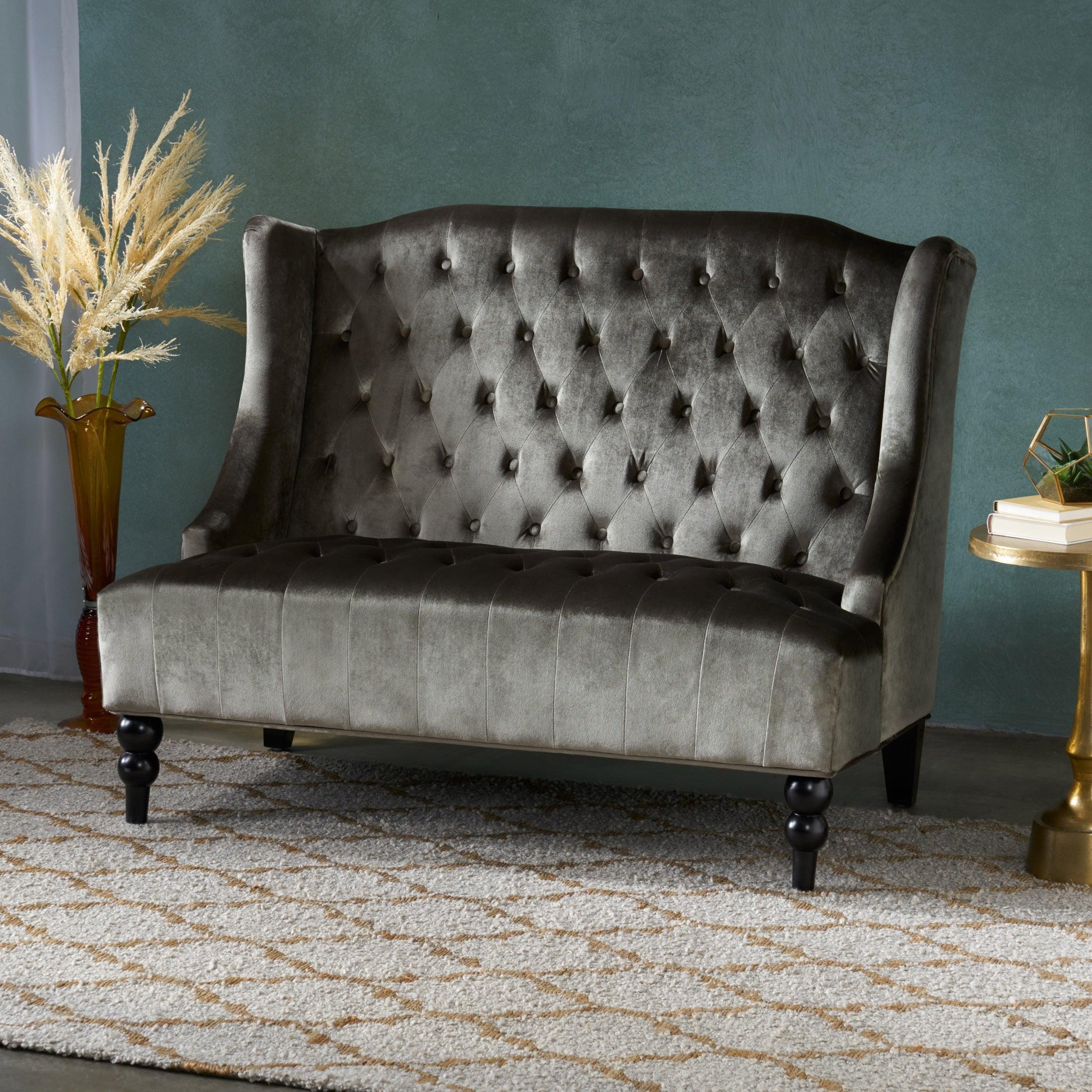 Leora Modern Glam Tufted Velvet Wingback Loveseat By Christopher Knight Home On Sale Overstock 16743342