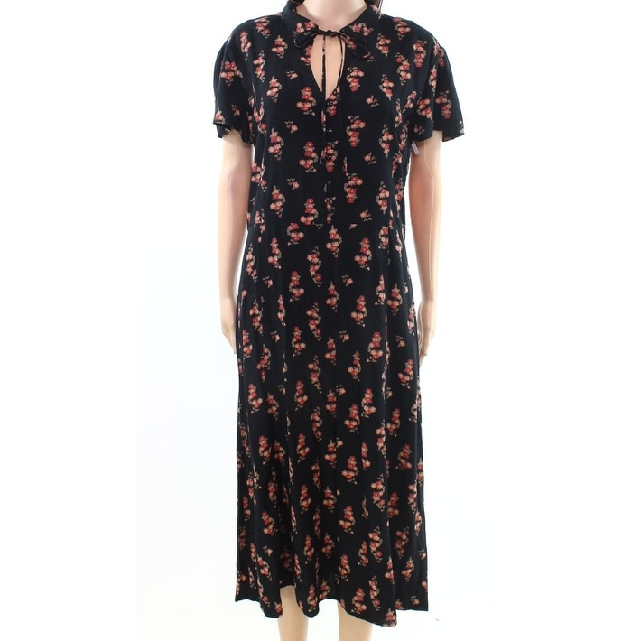 Shop Abound Black Womens Size Medium M Floral-Print Tie-Neck Shirt Dress -  Free Shipping On Orders Over  45 - Overstock.com - 22360063 194275b75d9