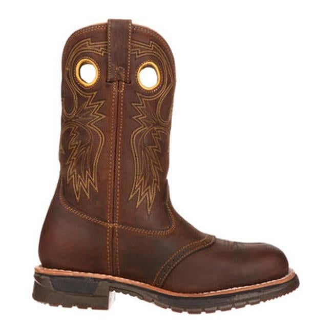 c152a3a163a Rocky Men's Original Ride Steel Toe Western Work Boot 6029 Brown