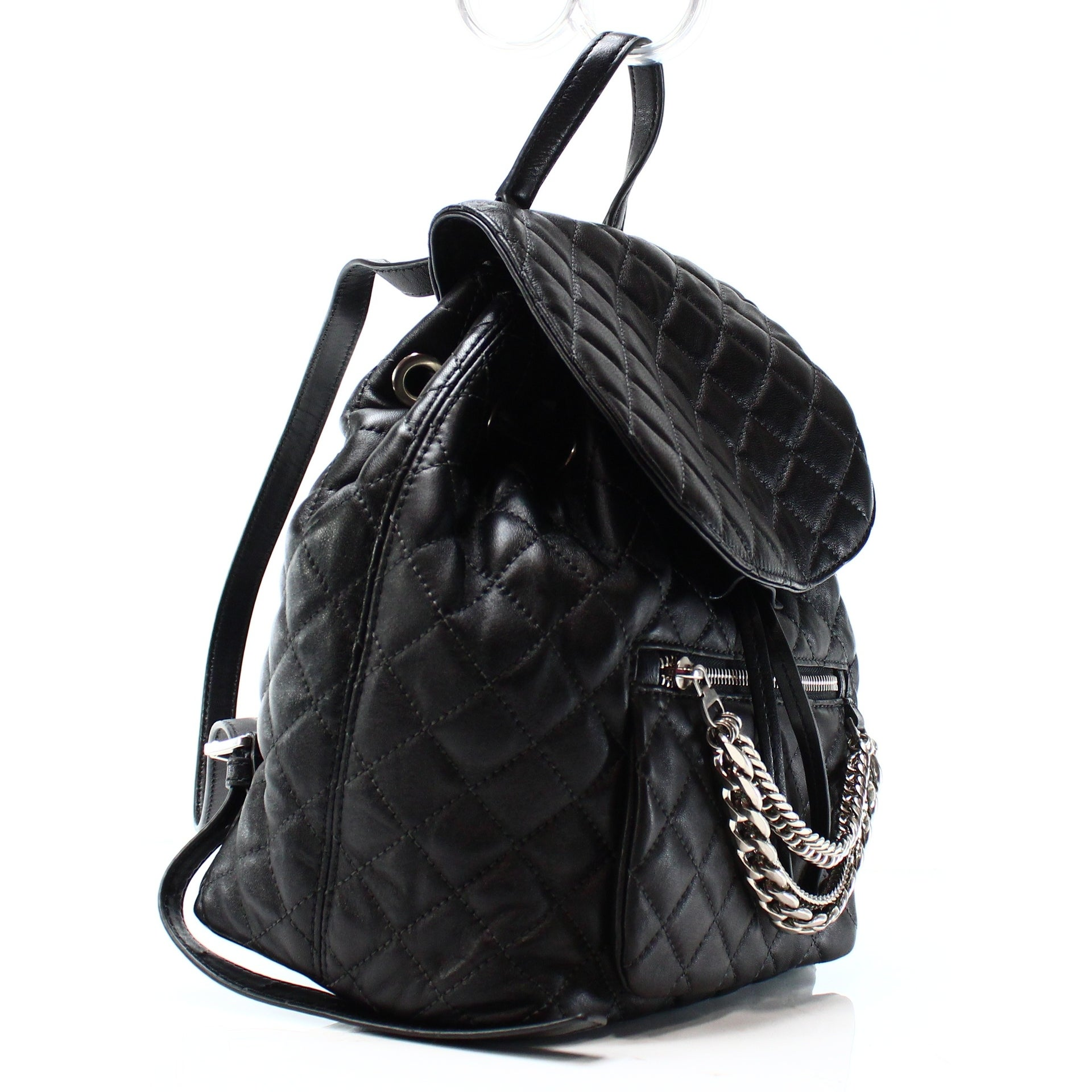 f373b220fdc3 Shop Michael Kors NEW Black Quilted Cheyenne Flap Backpack Drawstring Purse  - Free Shipping Today - Overstock - 19676240