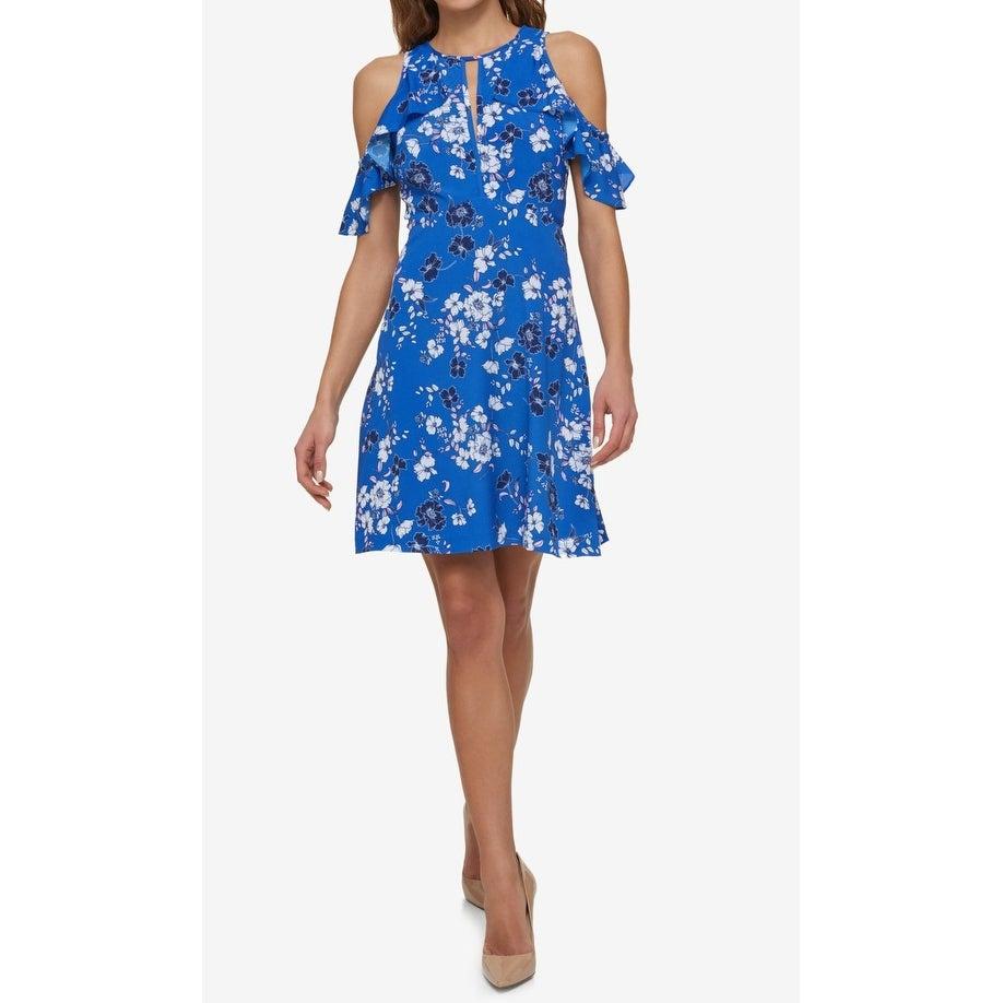 af5d8c92 Shop Jessica Simpson NEW Blue Women Size 10 Cold Shoulder Floral Sheath  Dress - Free Shipping On Orders Over $45 - Overstock - 21732988