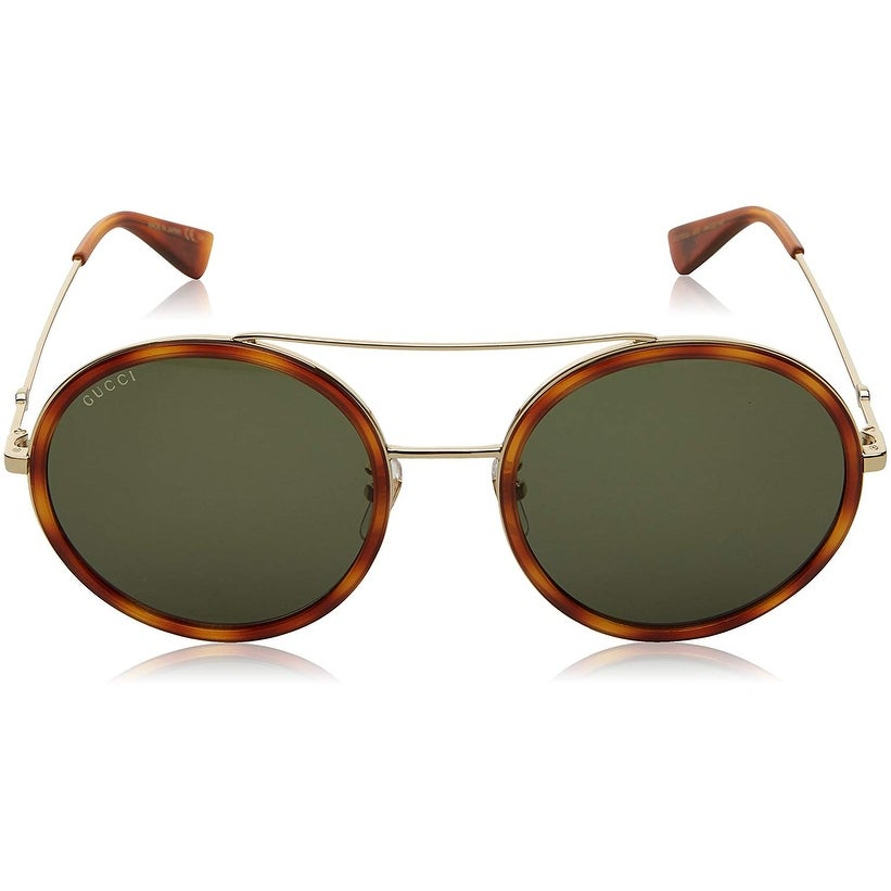 0fa7eee3d4 Shop Gucci Women s Urban Web Block Round Sunglasses Gold Havana With Green  Lens One Size - HAVANA-GREEN - One Size - Free Shipping Today - Overstock -  ...