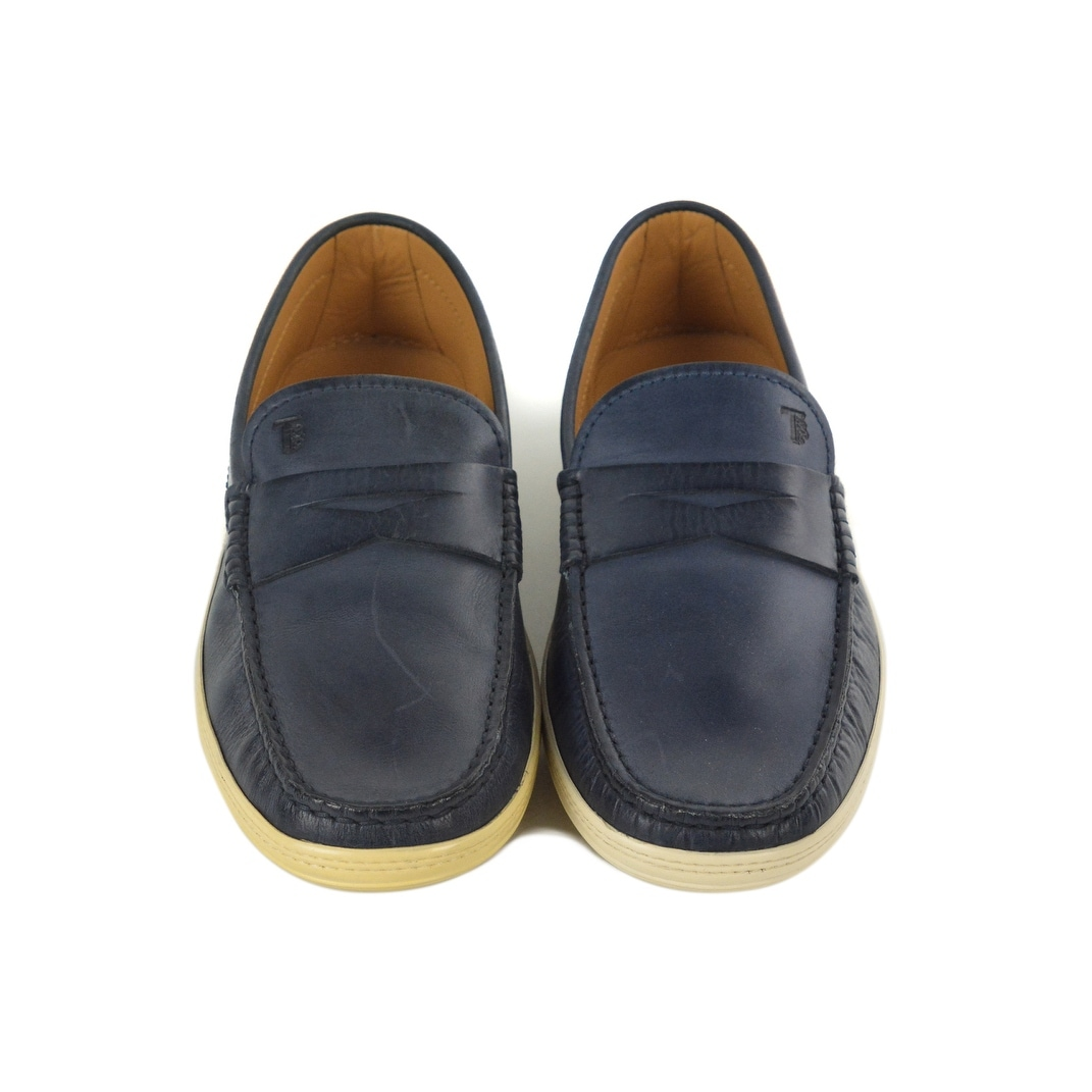 563cb944261 Shop Tods Mens Navy Blue Leather Penny Bar Boat Shoes Sz UK 6.5/  U7.5~RTL$545 - Free Shipping Today - Overstock - 23623300