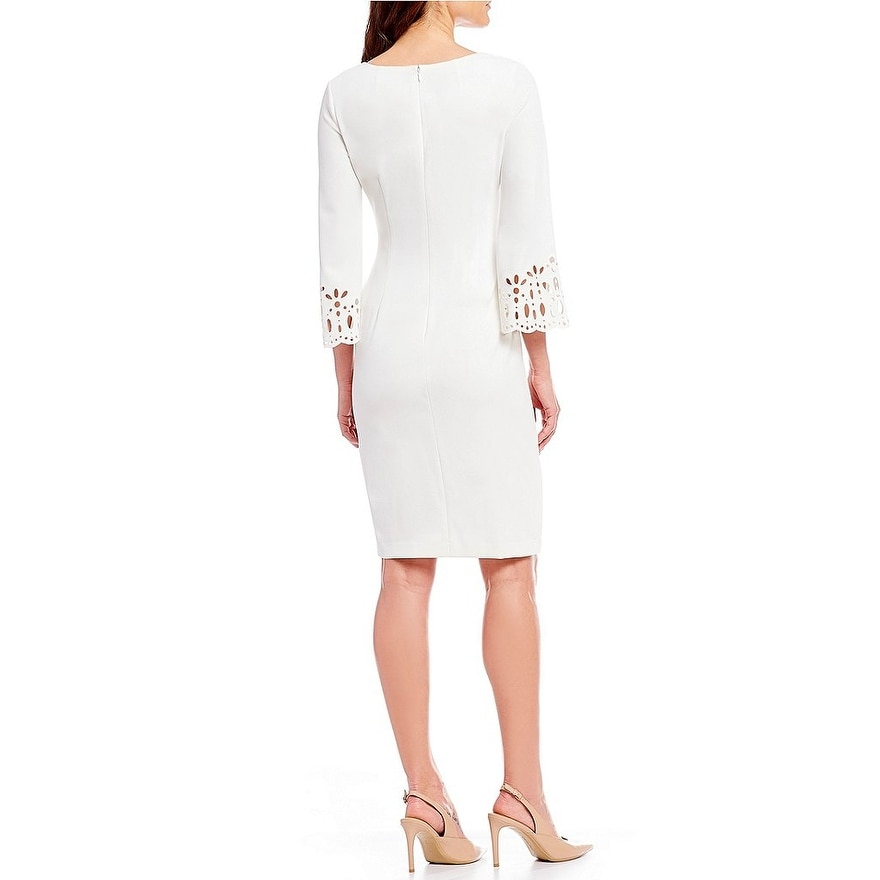 d127cdb8 Shop Calvin Klein Laser Cut-Out Bell Sleeve Sheath Dress, Soft White, 6 -  Free Shipping Today - Overstock - 26474289