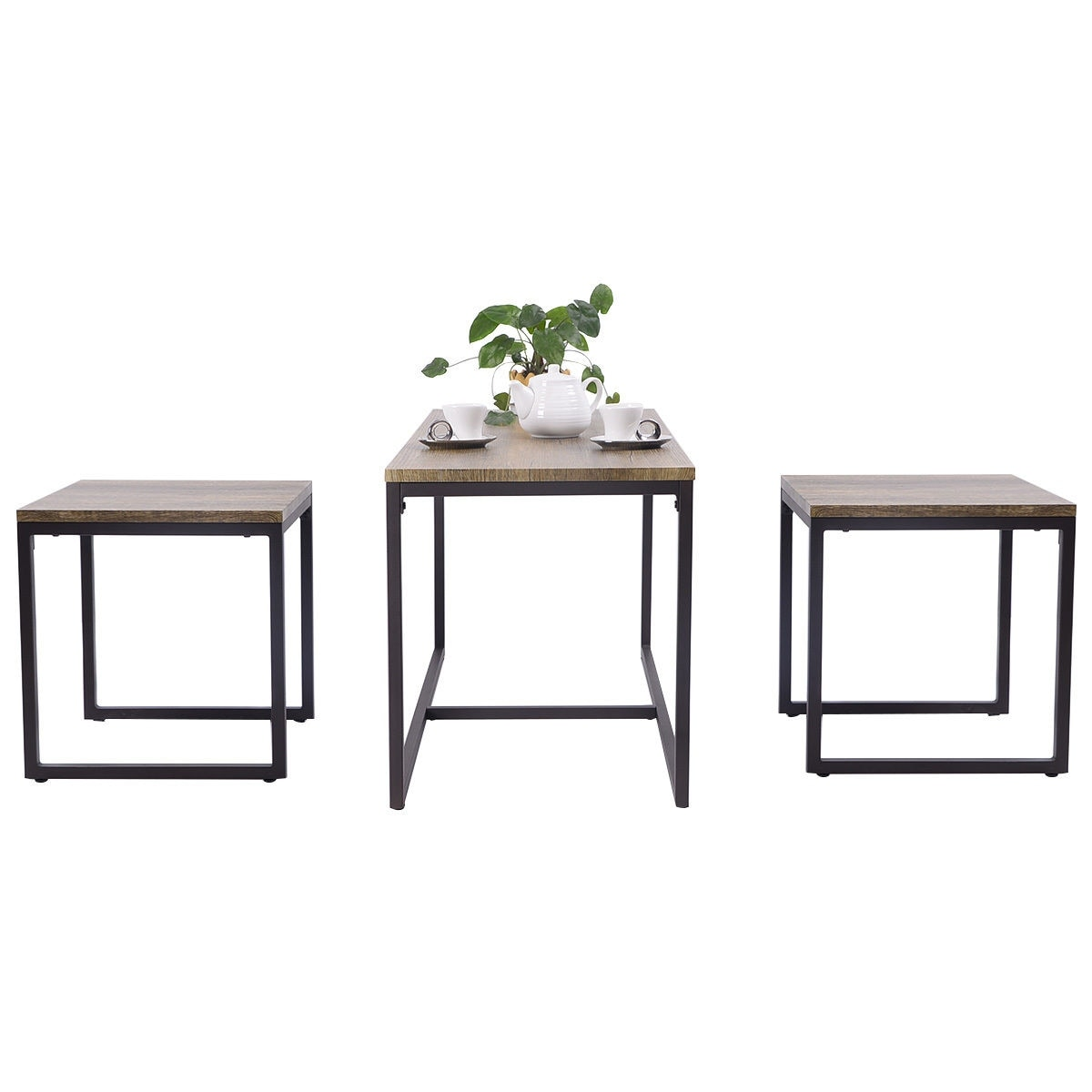 Shop Costway 3 Piece Nesting Coffee & End Table Set Wood Modern ...