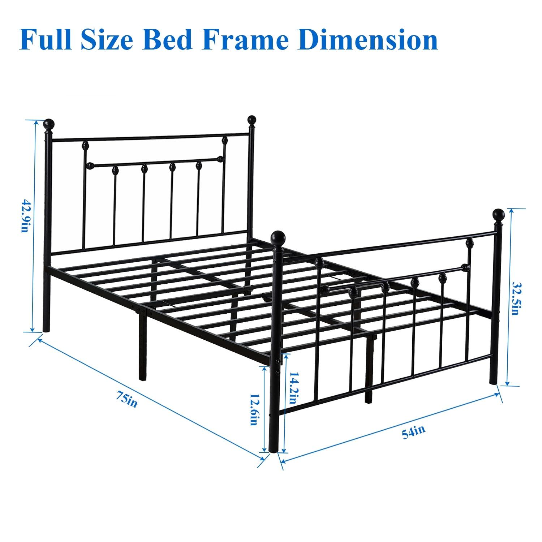 Full Size Bed Frame.Vecelo Bed Frames Victorian Metal Platform Beds Mattress Foundation