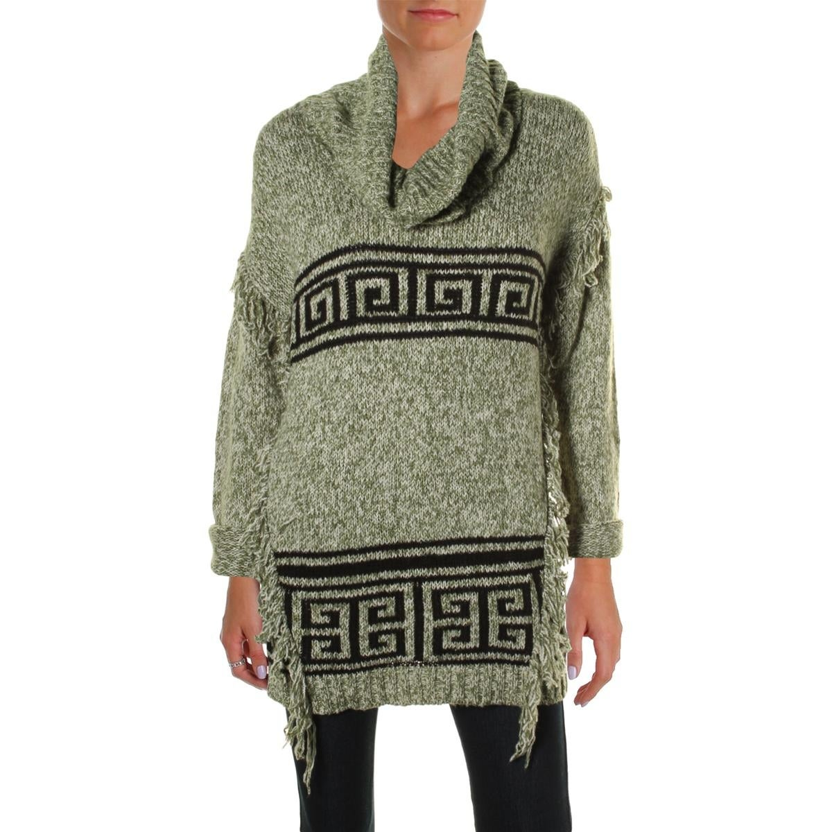 304c4a173 Shop Kensie Womens Pullover Sweater Fringe Funnel Neck - Free Shipping On  Orders Over $45 - Overstock - 13312372