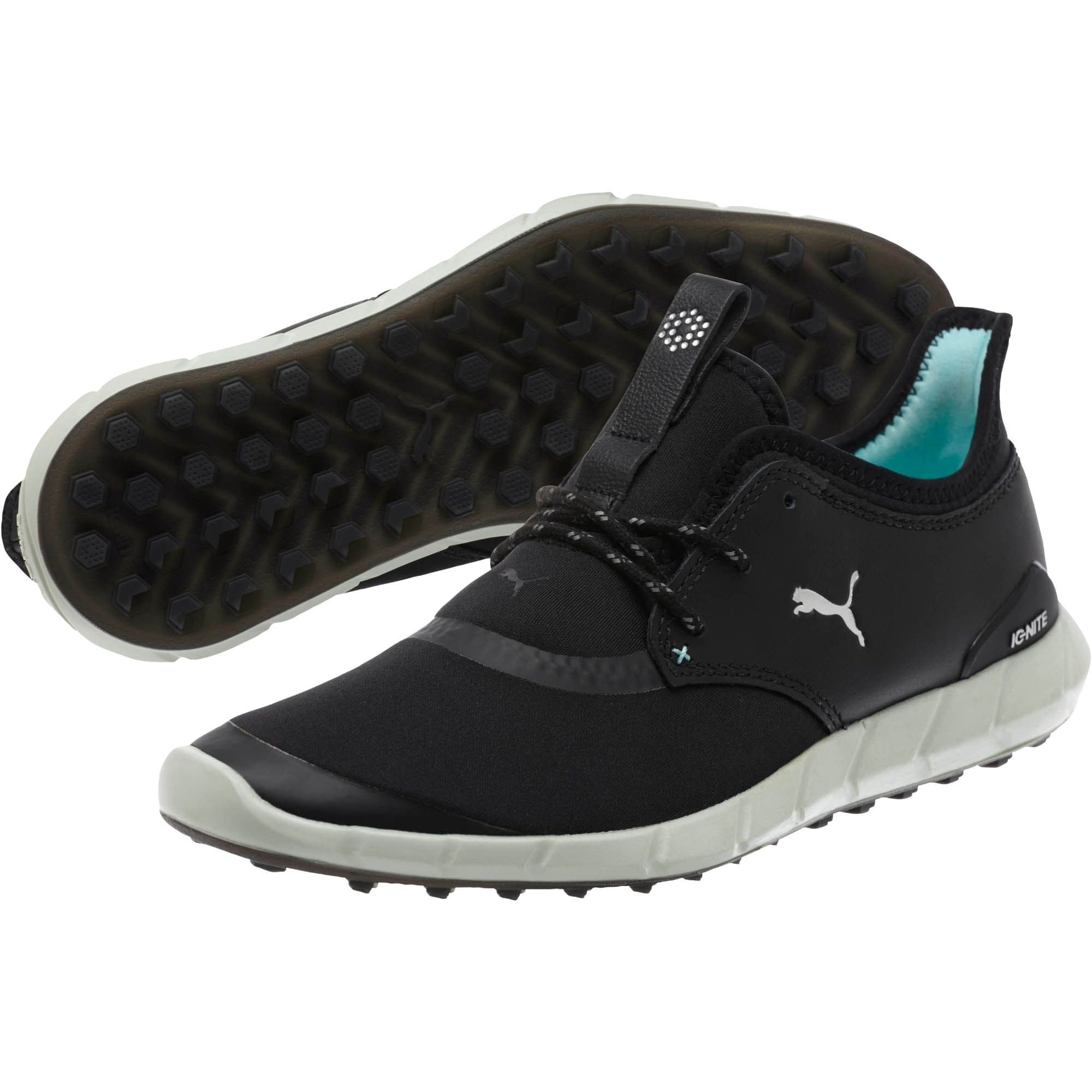 818460f26d2f Shop Puma Women s Ignite Spikeless Sport Golf Shoes Black Silver Aruba Blue  189422-01 - Free Shipping Today - Overstock - 22678215