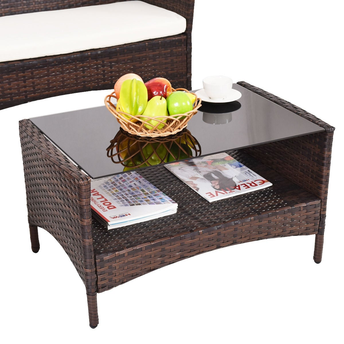 Costway 4 Pcs Outdoor Patio Rattan Furniture Set Table Shelf Sofa W Beige Cushions As Pic Free Shipping Today 16347007