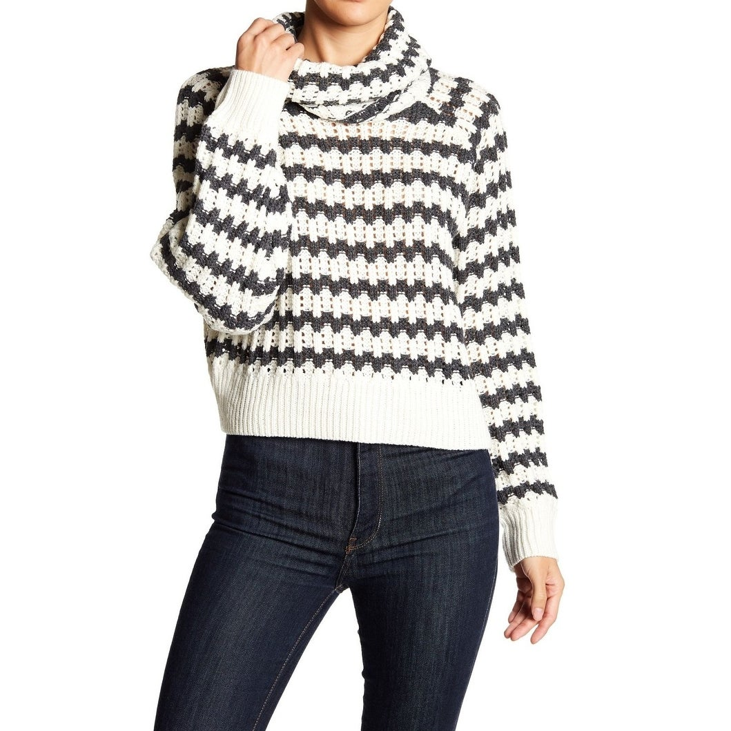 Shop John + Jenn White Womens Size XL Knit Striped Cowl Neck Sweater ...