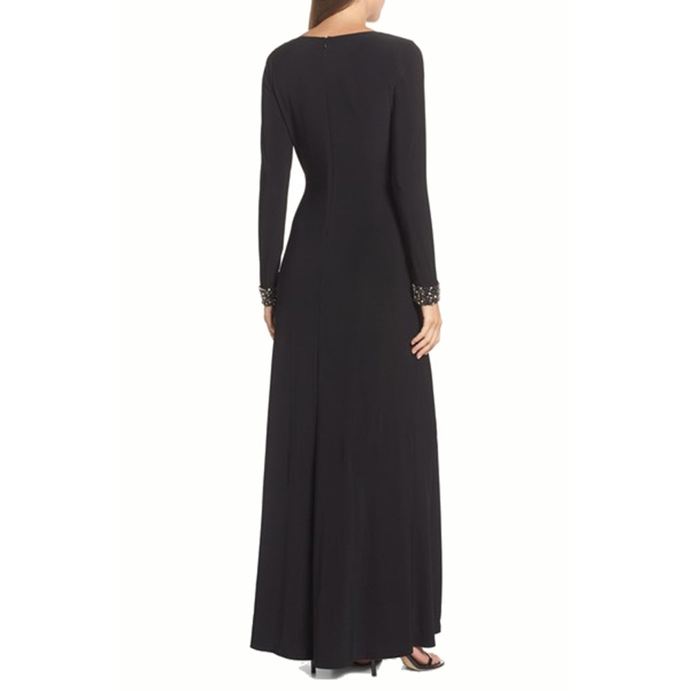 bc2e3aed337 Shop Vince Camuto Embellished Side Tuck Jersey Gown, Black, 8 - Free  Shipping Today - Overstock - 21491715