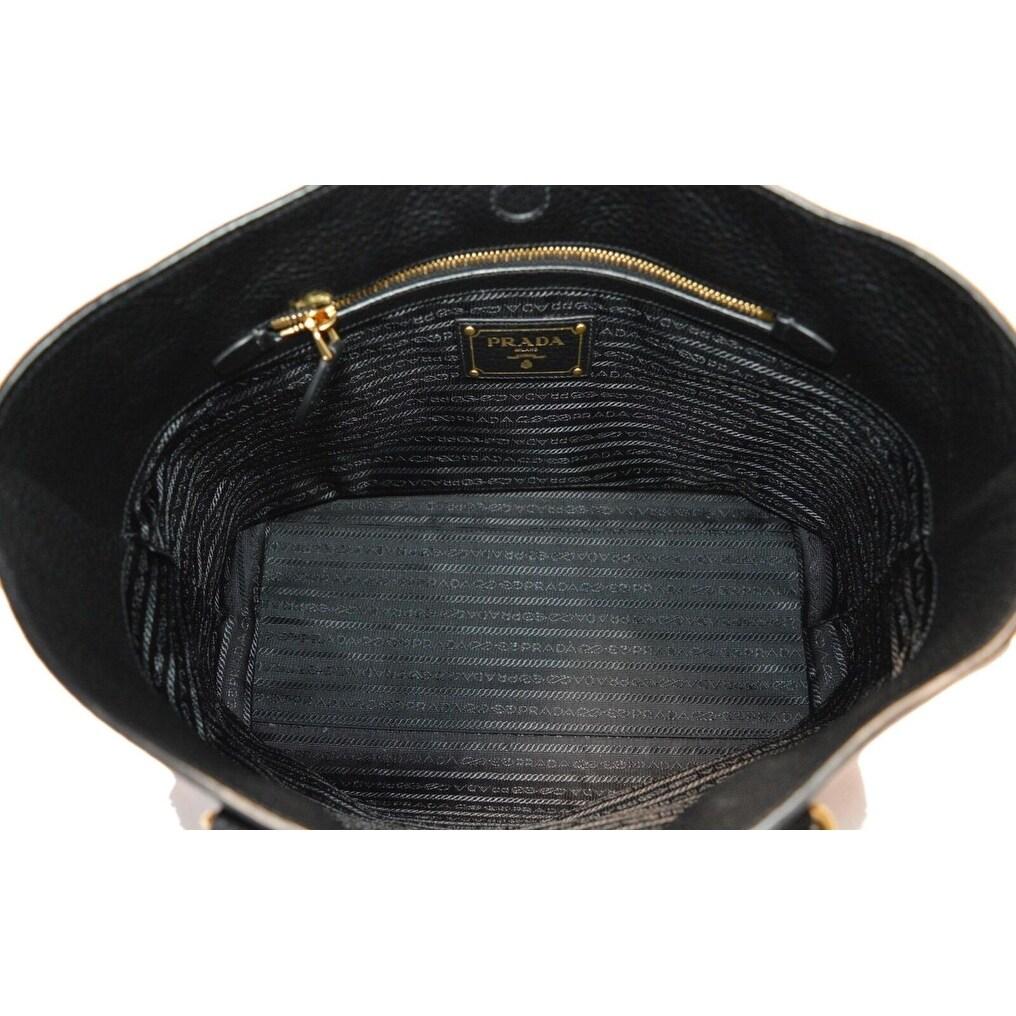 10de04731e3882 Shop Prada 1BG100 Black Leather Vitello Daino Embossed Logo Shopper Purse  Tote - Free Shipping Today - Overstock - 26975682
