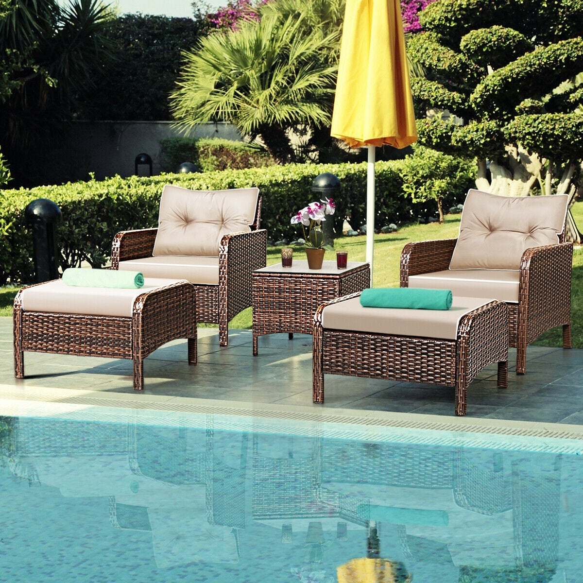 Costway 5 pcs rattan wicker furniture set sofa ottoman w brown cushion patio garden yard as pic