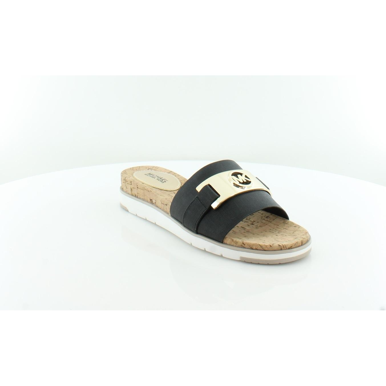 c9ec8a02c371 Shop Michael Kors Warren Slide Flat Sandal Women s Sandals   Flip Flops  Black - Free Shipping Today - Overstock - 21853123
