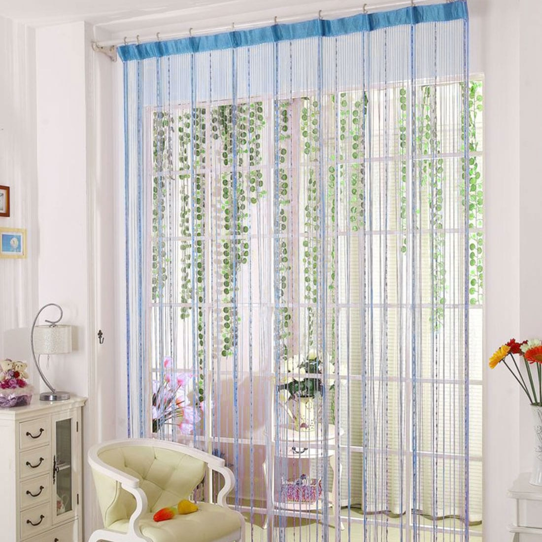 Shop Drop Beaded Chain String Curtain Voile Net Panels for Room ...