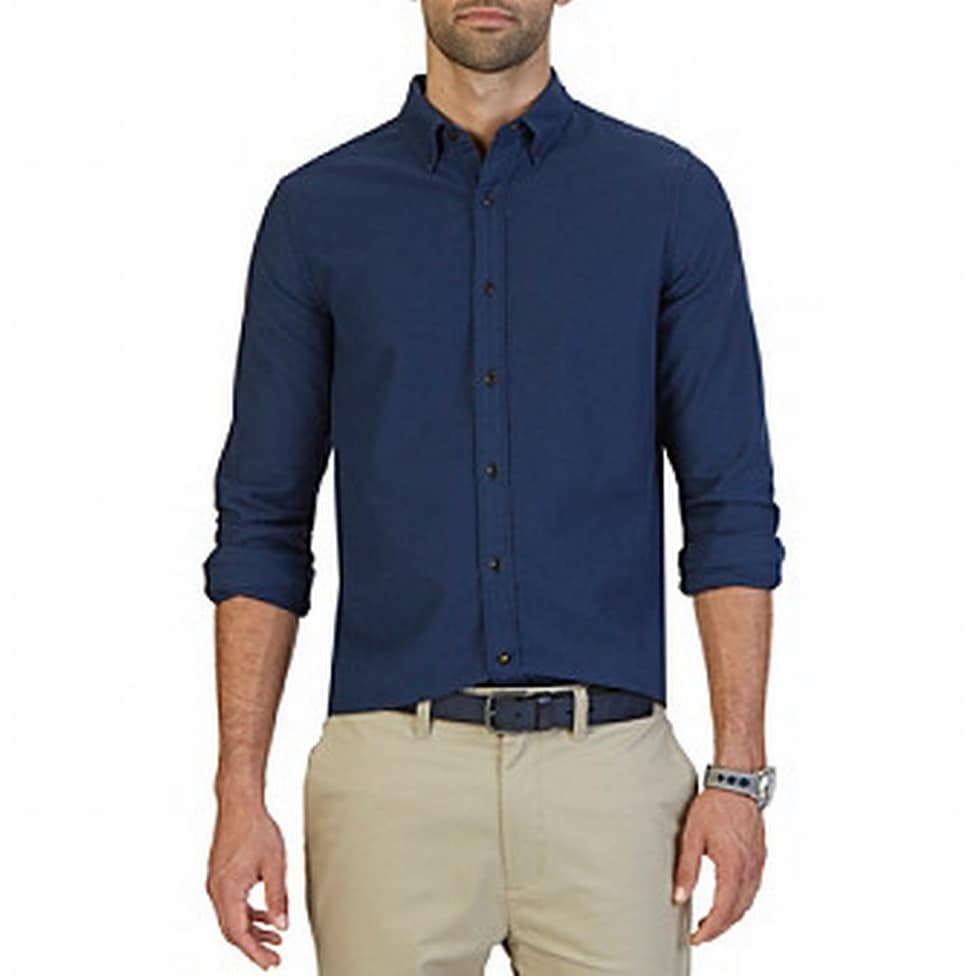 Shop Nautica New Blue Mens Size Medium M Slim Fit Stratford Button