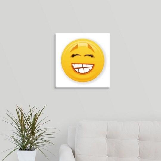 shop premium thick wrap canvas entitled grinning eyelash emoji
