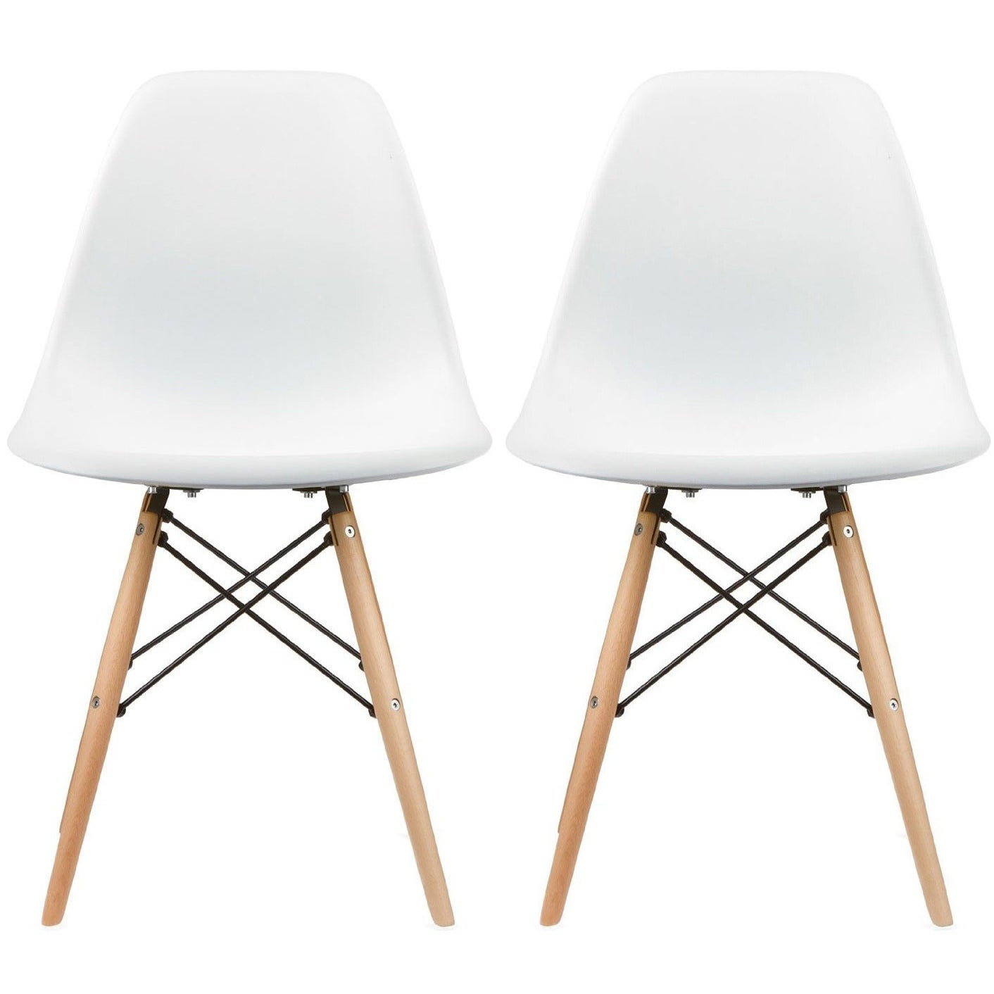 2xhome Set Of 2 White Molded Shell Designer Side Plastic Eiffel Chairs Wood Legs Dining Room Living Office Conference Dsw On Free Shipping