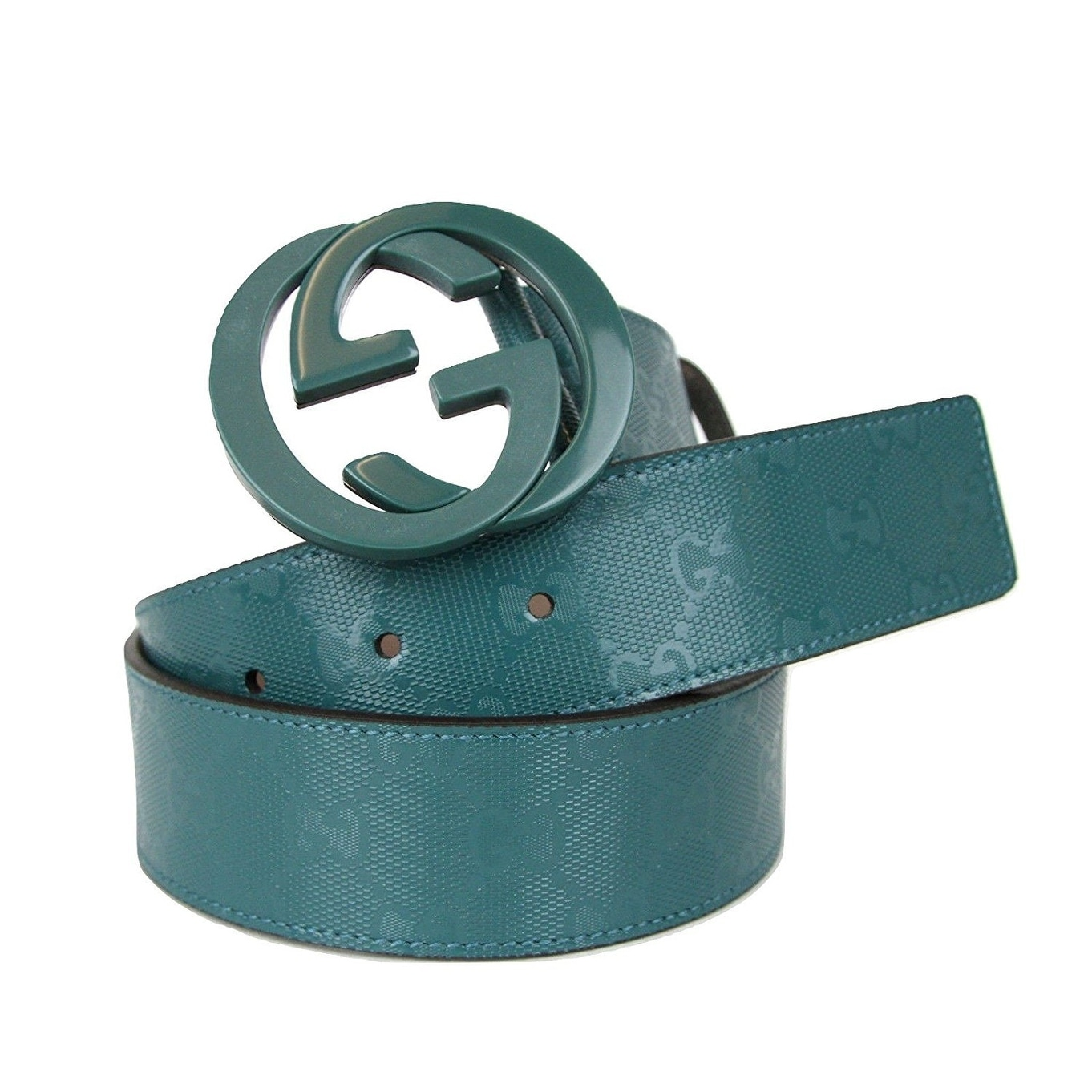 60f6cc7b51b Shop Gucci Men s Teal Imprime Interlocking G Buckle Belt 223891 4715 - Free  Shipping Today - Overstock - 25452902
