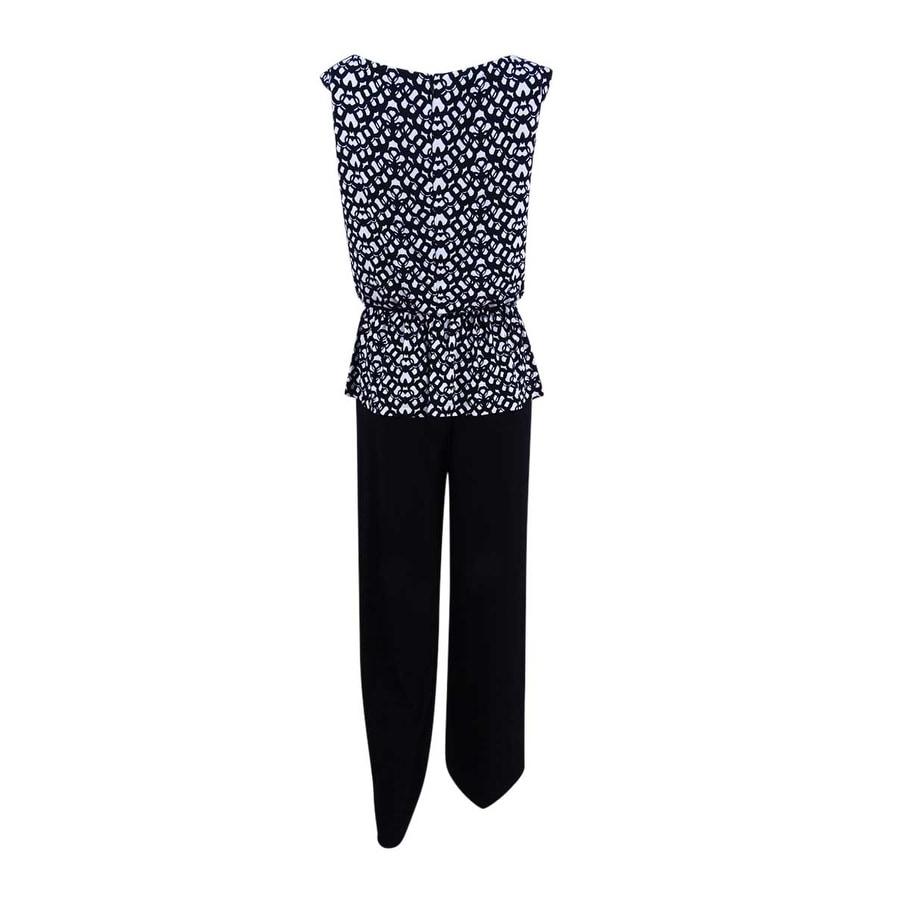 55a530e45ae6 Shop Connected Women s Petite Printed Peplum Wide-Leg Jumpsuit (4P ...