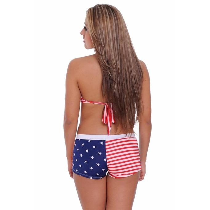 4074155441 Shop Women s 2-Piece Bathing suit USA Flag Bikini Halter Top   Hot Shorts  Beach Swimwear - Ships To Canada - Overstock - 11686049