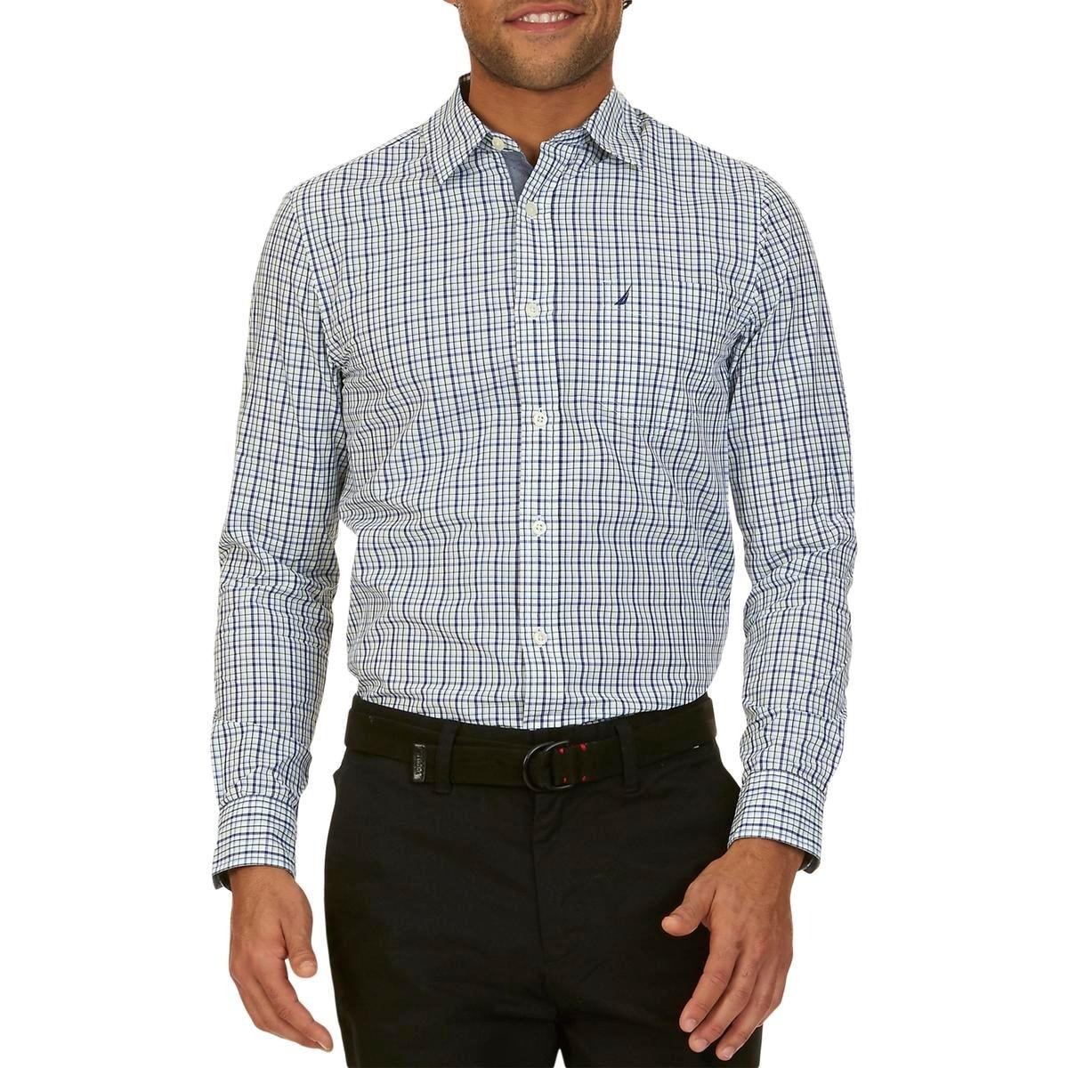 Shop Nautica Mens Big Tall Casual Shirt Plaid Short Sleeves 2xlt