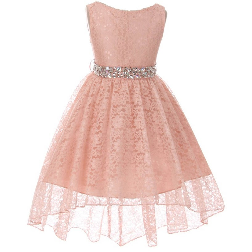 Shop Flower Girl Dress Hi-Low Style Lace Allover Blush MBK 360 ...