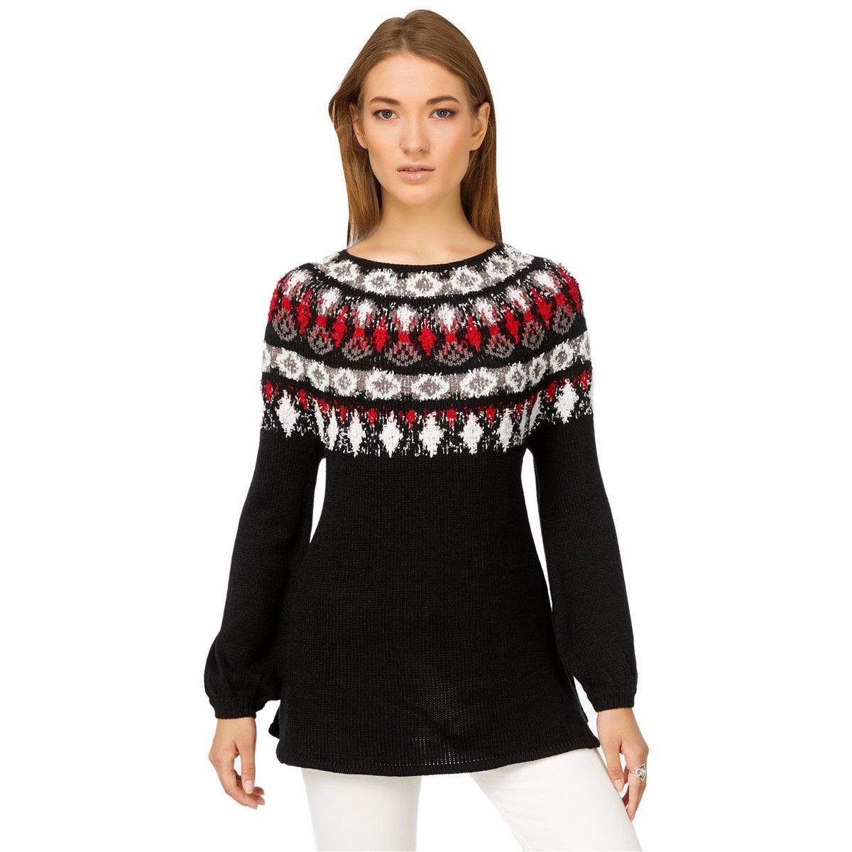 f0d253d2c4e Shop Style   Co Fair Isle Bishop Sleeve Patterned Pullover Sweater - Free  Shipping On Orders Over  45 - Overstock - 17654097