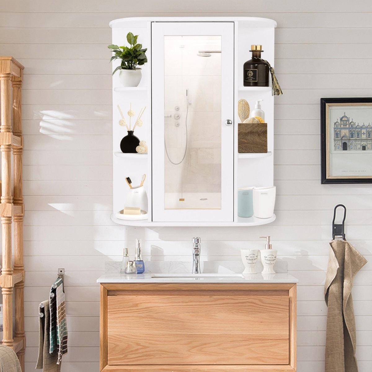 Shop Gymax Bathroom Cabinet Single Door Shelves Wall Mount Cabinet W ...