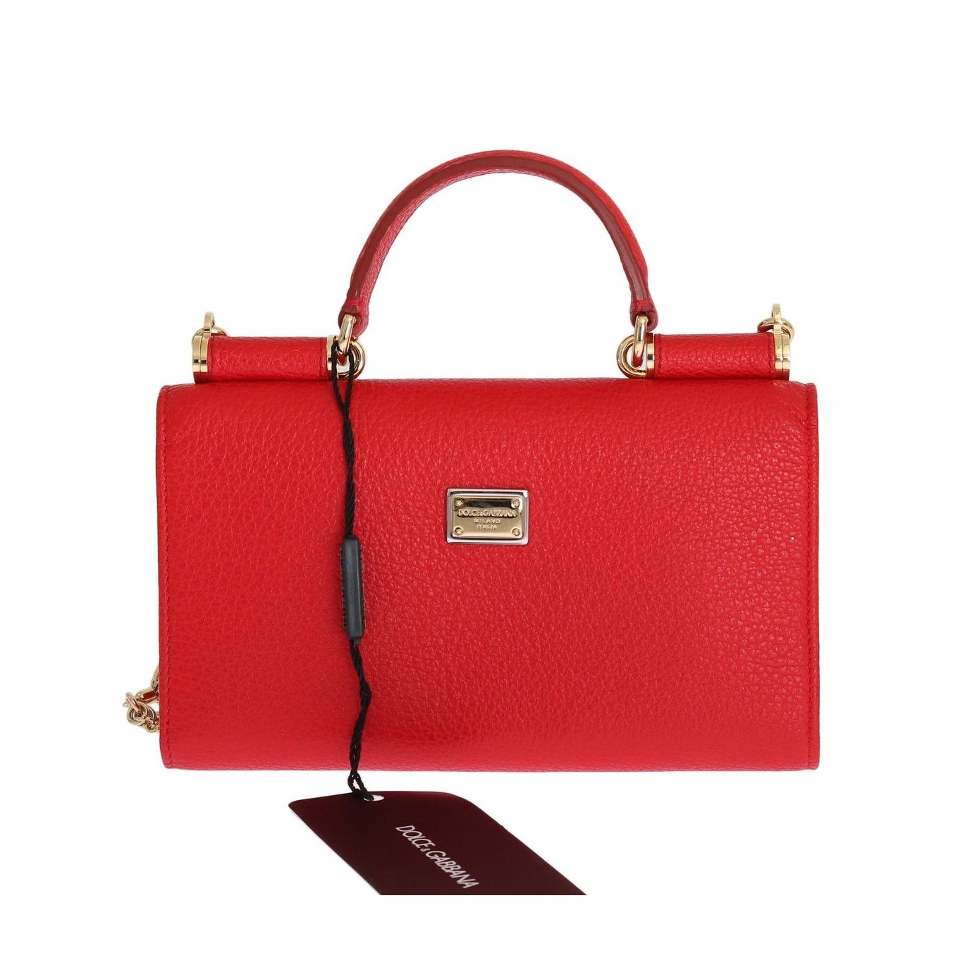 3b5dbf49cf14 Shop Dolce   Gabbana Purse VON Red Leather Crystal Carretto POM POM - One  Size - Free Shipping Today - Overstock - 21178090