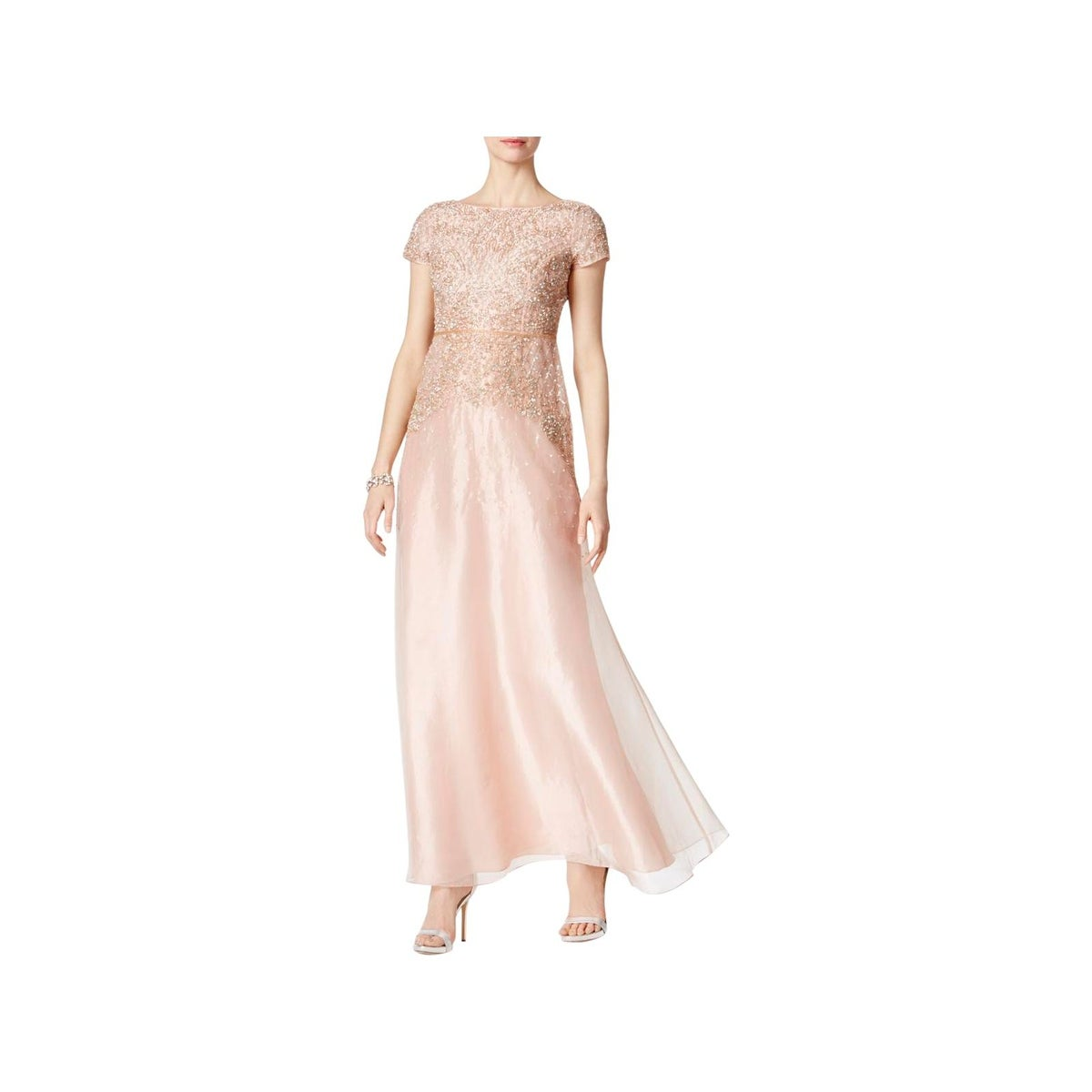 Shop Adrianna Papell Womens Formal Dress Beaded Cap Sleeves - Free ...