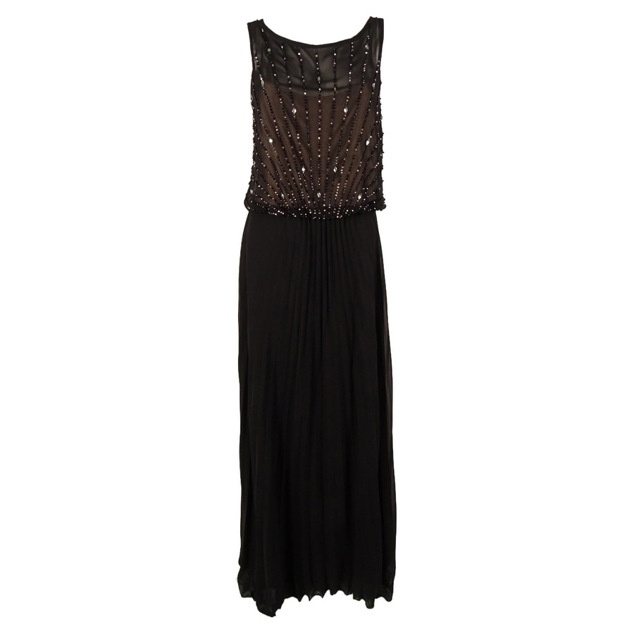 Xscape Women\'s Embellished Pleated Gown - Black - 6 - Free Shipping ...