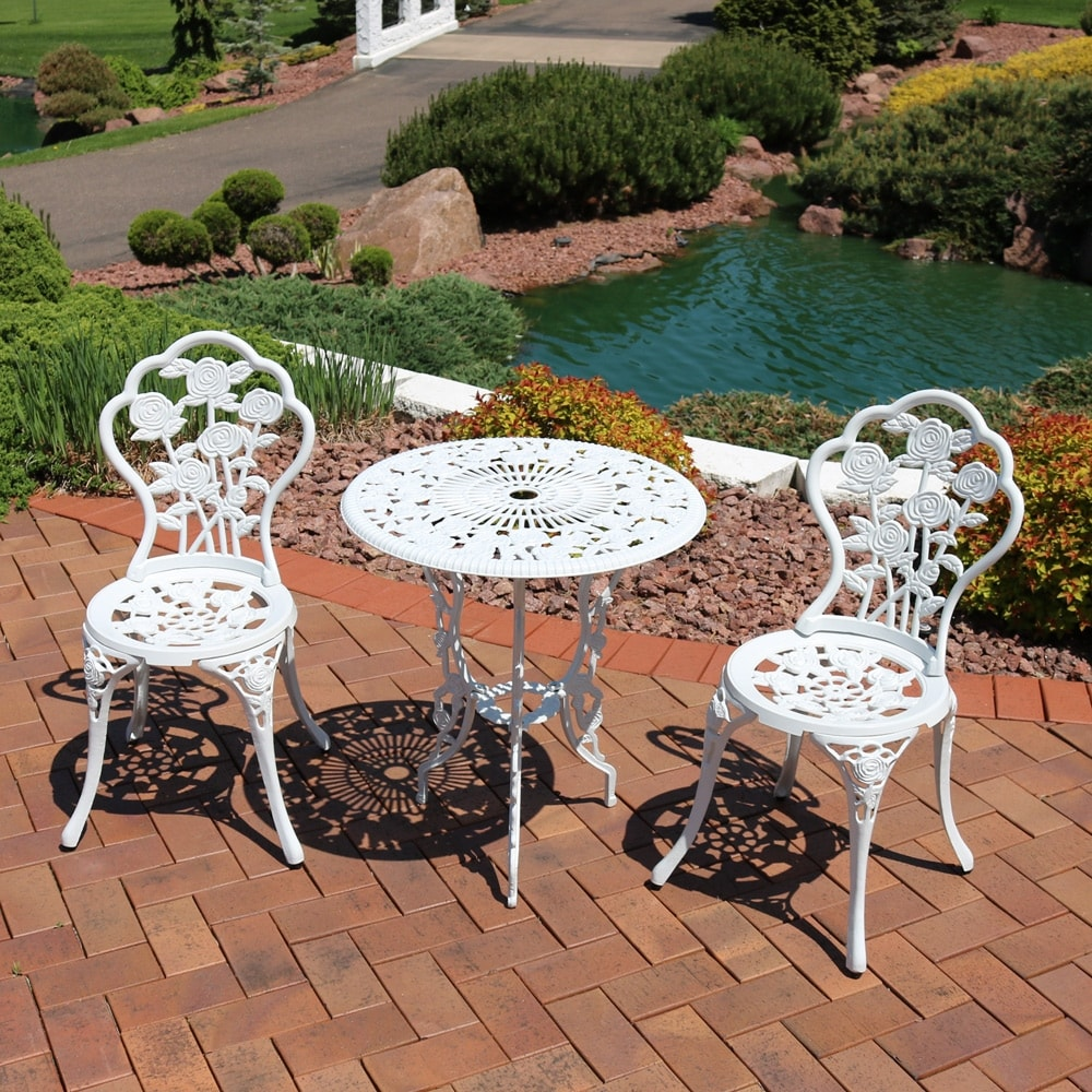 Sunnydaze 3 Piece White Flower Designed Cast Aluminum Patio Furniture Bistro Set
