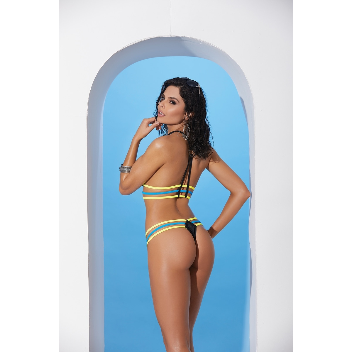 31d5fe6e4 Shop Lycra bikini top and matching g-string with chartreuse and turquoise  trim - Color - Black - Size - One Size - Free Shipping On Orders Over  45  ...