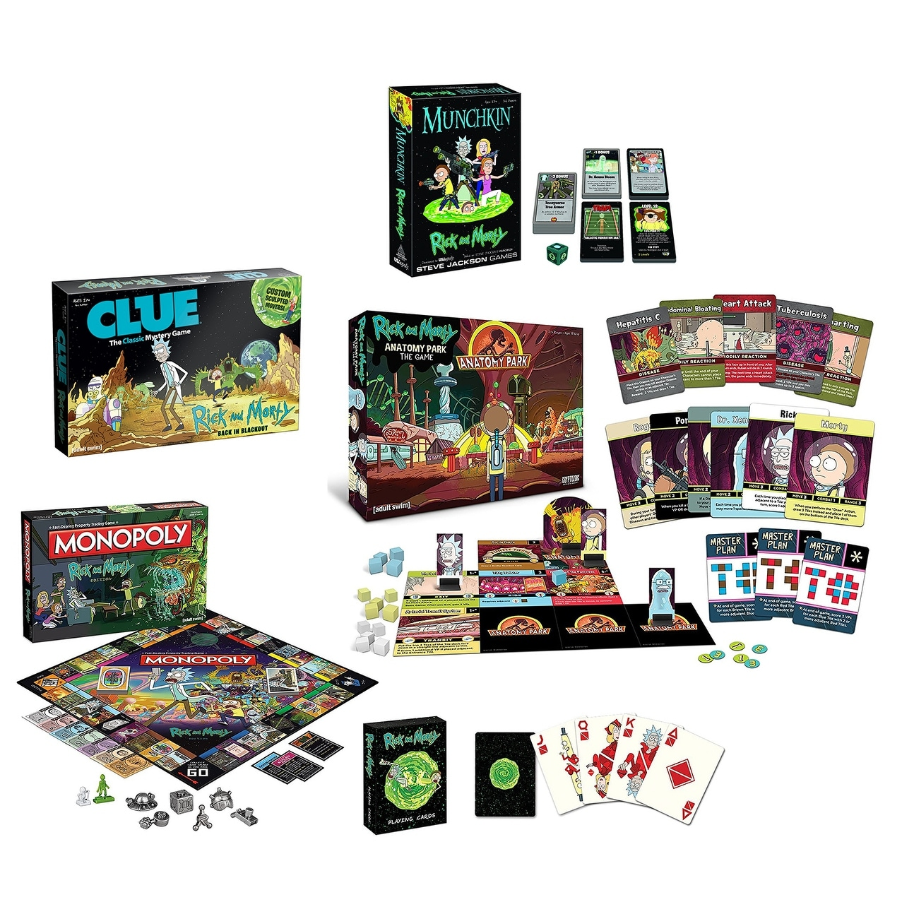 Shop Rick and Morty Game Bundle: Anatomy Park, Munchkin, Cards, Clue ...