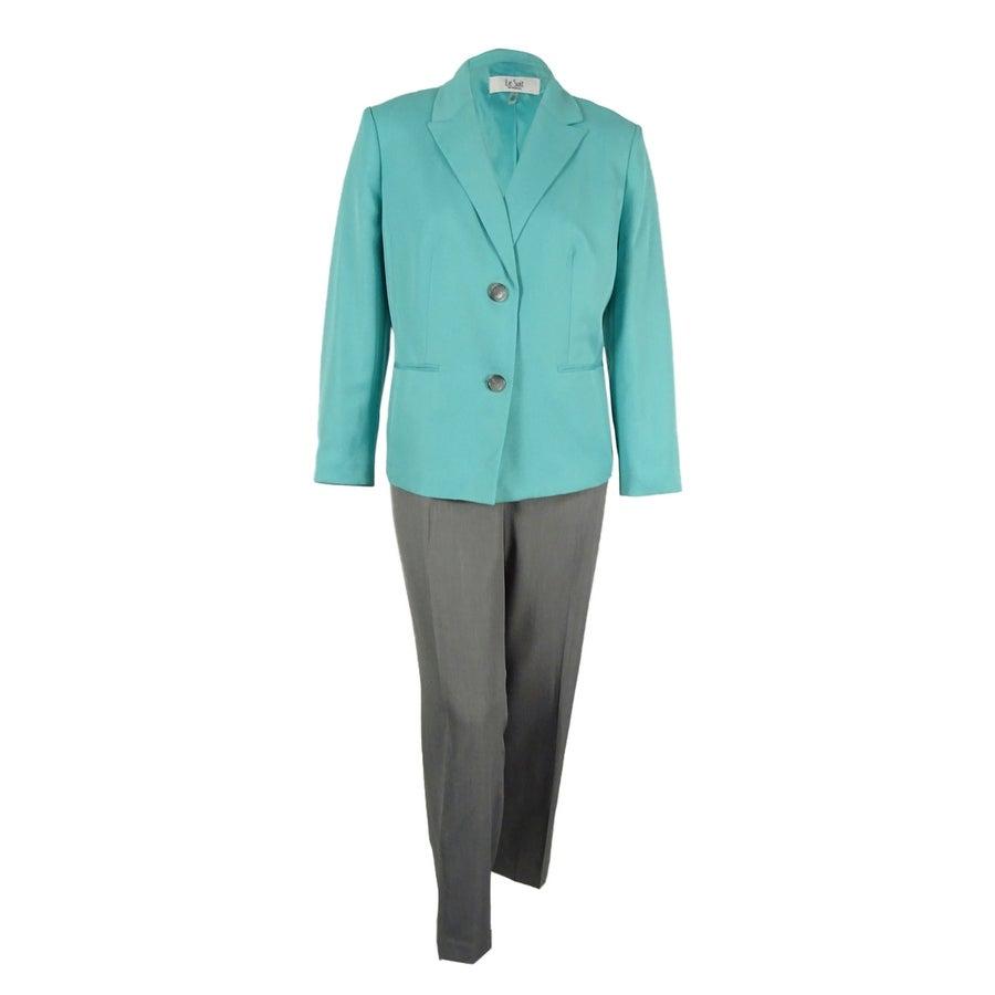 Shop Le Suit Women S Contrast Two Button Pantsuit Seafoam Stone